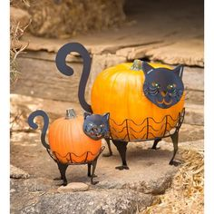 2 Piece Cat Pumpkin Holder Figurine Set