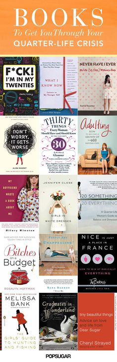 15 Books to Give Your Friends Going Through a Quarter-Life Crisis Because making it through your isn't always an easy feat, here are some good reads to help you out along the way. Reading Lists, Book Lists, Reading Books, I Love Books, My Books, Good Books To Read, Books To Read For Women, Pretty Little Liars, Quarter Life Crisis