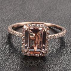 Voguegem Halo émeraude coupé Morganite0.26ctw Diamond griffe broches 14K or Rose bague de mariage
