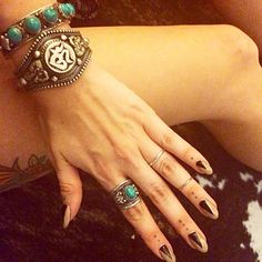 ॐ Beautiful shot from happy customer @danibabyy wearing out Turquoise 5 Stone Bracelet, Ohm Filigree Cuff & Turquoise Tibetan Ring ॐ Check out our website for more at www.ohmboho.com ☮