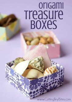 Origami Treasure Boxes. Great fine motor paper craft for kids, perfect for storing all of your children's little treasures!