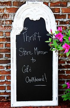 Thrift store mirror to cafe chalkboard
