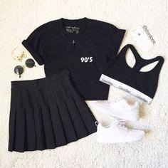 Teen Fashion Outfits, Korean Outfits, Retro Outfits, Girly Outfits, Trendy Outfits, Cool Outfits, Korean Girl Fashion, Look Fashion, Fashion Black