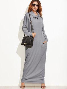 макси  серое платье с карманами