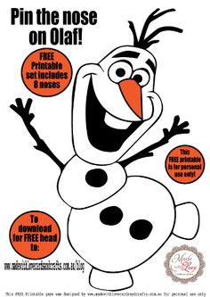 FREE Pin the nose on Olaf game printable Frozen 3rd Birthday, Olaf Party, Frozen Themed Birthday Party, Disney Frozen Party, Frozen Birthday Party, 4th Birthday Parties, Frozen Frozen, Turtle Birthday, Turtle Party