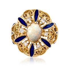 C. 1950. A world of whimsy that you can wear: from our Estate collection, a gorgeous opal sits center among .30 ct. t.w. diamonds and intricate scroll work detailing in 14kt yellow gold. Blue enamel petals draw in the eye, and make this Retro design pop. Opal and diamond ring. <b>Exclusive, one-of-a-kind Estate Jewelry.</b> Free shipping & easy 30-day returns. Fabulous jewelry. Great prices. Since 1952.
