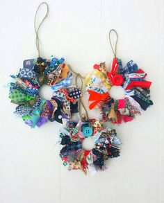 New listing ...3 large handmade fabric scrap wreath ornaments! These remind me of a patchwork quilt.  Such rustic and country Christmas tree ornaments.  https://www.etsy.com/listing/256116314/handmade-fabric-wreath-ornaments