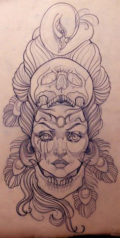 Emily Rose Murray - Tattoo Sketch I wouldn't want it permanently on my body but its a super cool drawing. http://tattoo-ideas.us