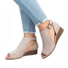 Ermonn Womens Cut Out Wedge Sandals Espadrille Peep Toe Ankel Strap Low Heel Sandals Women's Shoes, Suede Shoes, Shoe Boots, Ankle Boots, Shoes Style, Wedge Sneakers Style, Shoes Sneakers, Dance Shoes, Bootie Boots