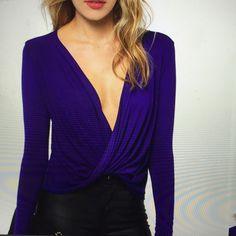 Violet Tobi All Nighter Top Violet Tobi All Nighter Top low cut Tobi Tops Tees - Long Sleeve