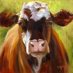 Cow Art Print Canvas Giclee of Original Oil Painting Mozart  by Cheri Wollenberg. $120.00, via Etsy.