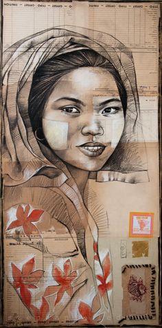 Stéphanie Ledoux > Pao woman - Nam Pan market on the Inle Lake - Myanmar Art Et Illustration, Illustrations, Collages, L'art Du Portrait, Ledoux, Creative Poster Design, Beauty Art, Drawing People, Black Art