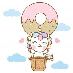 Vector lindo unicornio en dibujos animados globo donut Vector Premium