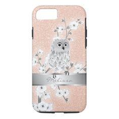 #monogrammed - #Cute Owl Rose Gold Monogram Bling iPhone 7 Case