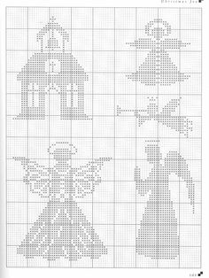 Anges overlay for Christmas tree skirt Xmas Cross Stitch, Cross Stitch Angels, Simple Cross Stitch, Cross Stitch Charts, Cross Stitching, Cross Stitch Embroidery, Cross Stitch Patterns, Cross Stitch Silhouette, Stitch And Angel