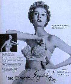 1950s Bra-O-Matic Vintage Bra Advertisement by Christian Montone, via Flickr - classy womens lingerie, lingerie xxl, lingerie nightwear *sponsored https://www.pinterest.com/lingerie_yes/ https://www.pinterest.com/explore/intimates/ https://www.pinterest.com/lingerie_yes/fantasy-lingerie/ http://www.neimanmarcus.com/Womens-Clothing/Lingerie-Shapewear/cat13750752/c.cat