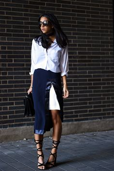iris and ink clothing satin trimed pencil skirt navy streetstyle blogger kayla seah fashion not your standard lace up public desire heels gucci dionysus bag white blouse