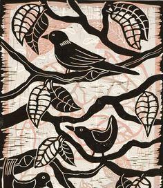 Birds on a Branch, a color linocut by Mariann Johansen-Ellis