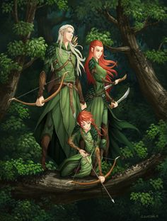 Legolas, Tauriel, and their son by hueco-mundo. Ok. I don't like them together AT ALL but!this is well done and cute nonetheless
