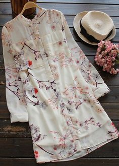 floral long sleeve button up chiffon shirt dress