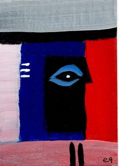 every prayer a thread into the spirit world e9Art ACEO Abstract Shaman Art Painting Outsider Brut