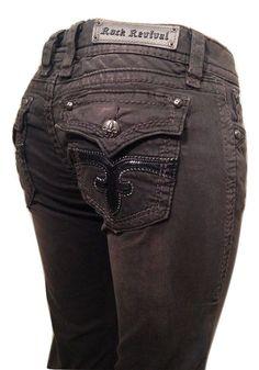 Rock Revival Jeans Size 26, 29, Celine TJ8146S49 Dk Gray Skinny NWT Retail $158. #RockRevival #SlimSkinny