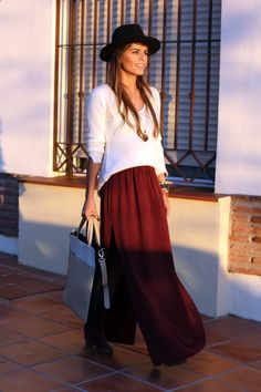 fall outfits womens fashion clothes style apparel clothing closet ideas Burgundy long maxi skirt and Cream handbag white top black hat