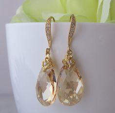Champagne Swarovski Crystal Gold Stone by MaciDesign Bridesmaid Earrings, Bridal Earrings, Crystal Earrings, Bridal Jewelry, Dangle Earrings, Celebrity Weddings, Diamond Engagement Rings, Swarovski Crystals, Champagne