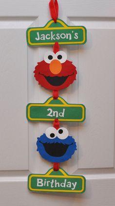 Sesame Street Birthday Party Door Sign by DesignsByDodi on Etsy, $18.00