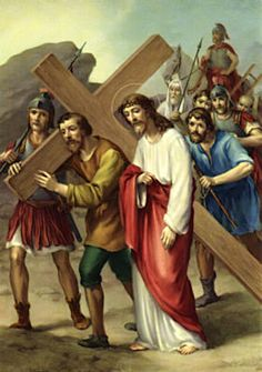 Stations of the Cross - Fifth Station: Simon of Cyrene helps Jesus to carry his cross