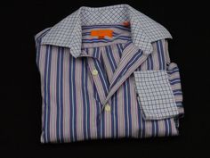 Tallia Dress Shirt Mens Size Small Contrasting Cuffs And Collar 100% Cotton  #Tallia