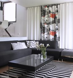 Vallila Bulevardi verhot Nordic Design, Scandinavian Home, Marimekko, White Decor, First Home, Living Room, House, Curtains Living, Jenni