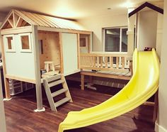 indoor playhouse Basement playhouse - Plan mash up Kids Playhouse Plans, Kids Indoor Playhouse, Build A Playhouse, Outdoor Playhouses, Childrens Playhouse, Kids Indoor Playground, Backyard Playhouse, Basement Bedrooms, Kids Bedroom
