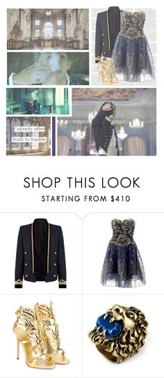 """""""Blood, Sweat, & Tears--- BTS (Rap Monster)"""" by alicejean123 ❤ liked on Polyvore featuring Balmain, Zandra Rhodes, Giuseppe Zanotti, Gucci and vintage"""