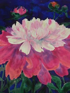 Peony painted on silk in class with Stephanie Robertson at Sievers School of Fiber Arts.  www.sieversschool.com
