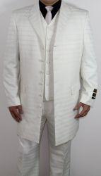 Men's 7 Button Zoot Suit Off White/ Tonal Window Pattern Suit