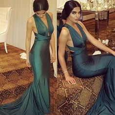 Charming Green Mermaid Long Formal Sexy Prom Dress, Evening Party Dress The long prom dresses are fully lined, 4 bones in the bodice, chest pad in the bust, l Teal Prom Dresses, Long Prom Gowns, Backless Prom Dresses, Mermaid Prom Dresses, Sexy Dresses, Dress Long, Dress Prom, Party Dresses, Graduation Dresses