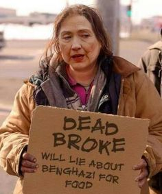 Hillary with her last campaign sign.