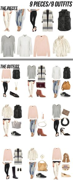 9 pieces/9 outfits - winter to spring 2015!