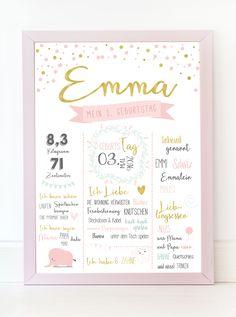 Meilensteintafel zum 1. Geburtstag von www.littlemalia.de // Geburtstafel, Chalkboard, Milestoneboard, Babytafel