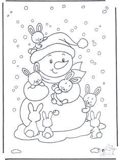 snowman and bunny coloring page