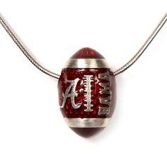 Sterling Silver and Crimson Enamel University of Alabama Football Pendant Necklace $189.95  #bama #crimson_tide #roll_tide #university_of_alabama #hudson_poole_jewelers