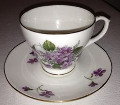 Vintage Duchess English Bone China Tea Cup and Saucer with Purple Flowers on Etsy, $21.95