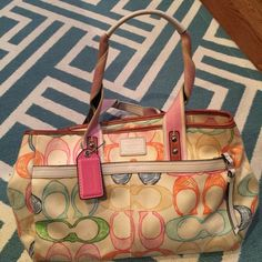 Authentic coach bag Authentic multicolor coach bag, in great condition! Coach Bags Shoulder Bags