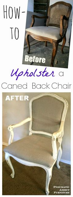 Pneumatic Addict : How to Upholster a Caned Back Chair: Tutorial-- just gathering some ideas for a pending chair makeover :) Reupholster Furniture, Furniture Repair, Upholstered Furniture, Furniture Projects, Furniture Makeover, Diy Furniture, Furniture Stores, Kitchen Chair Makeover, Goodwill Furniture
