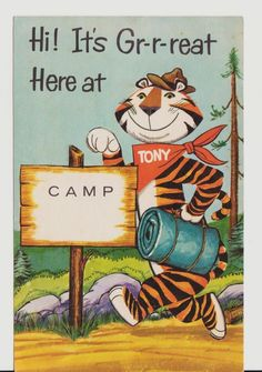 KELLOGGS TONY THE TIGER 1960's ADVERTISING ADV CAMP CAMPING UNUSED POSTCARD