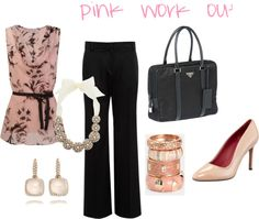 """Pink Work Outfit"" by kagosset on Polyvore"