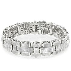This Mens Silver Diamond Bracelet weighs 67 grams, showcases 3.25 carats of genuine diamonds and a rhodium plating for an excellent shine. This heavy sterling silver diamond bracelet makes a fabulous gift for any occasion.