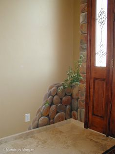 Grand Entrance Archway with Tuscan Landscape - Cobble Stone Detail