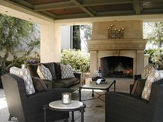 covered patios with fireplaces | Exterior fireplace and covered pavilion mediterranean patio